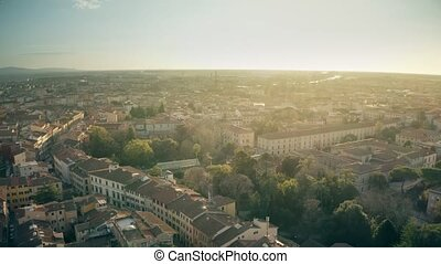 Aerial view of cityscape of Pisa in the evening, Italy