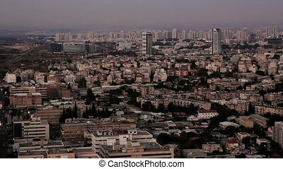 Aerial view of cityscape of Ramat Gan, Bnei Brak and Petah...