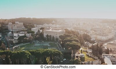 Aerial view of cityscape of Rome centre near Vatican City in the evening, Italy