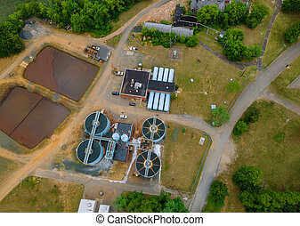 Aerial view of cleaning construction for a sewage treatment in systems