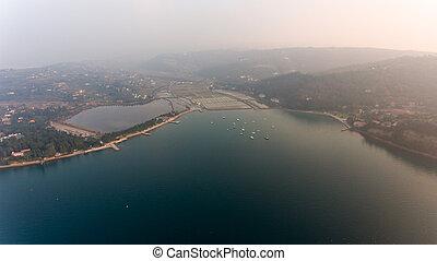 Aerial view of cliffs shoreline.