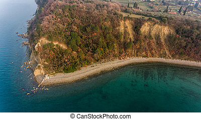 Aerial view of cliffs shoreline.