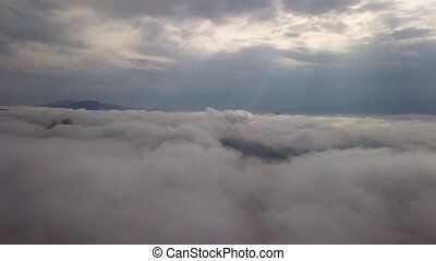 Aerial view of clouds in a mountainous region of Slovakia, Tatra Mountains
