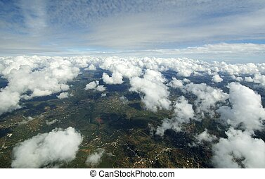 Aerial view of clouds over Earth