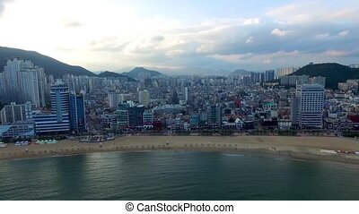 Aerial View of Cloudy Gwangalli Beach, Gwangalli. Busan, South Korea, Asia