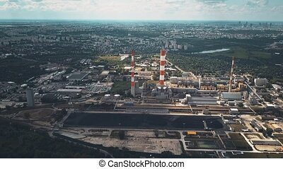 Aerial view of coal power station - Aerial view of coal...