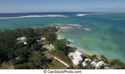 Aerial view of coast line of Mauritius Island - Aerial view...