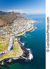 aerial view of coast of Cape Town