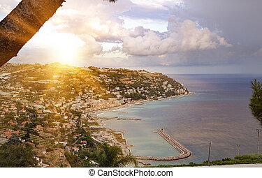 Aerial View Of Coast Of Mediterranean Town