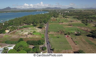 Aerial view of coast on Mauritius Island - Aerial shot of...