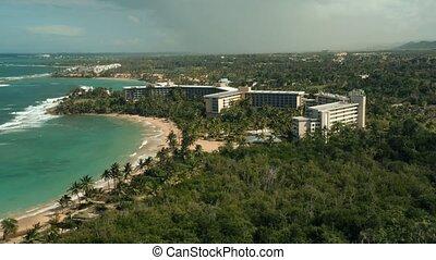 Aerial view of coastal Puerto Rico. Cinematic 4K footage.
