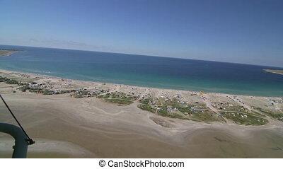 Aerial view of coastline from hang glider. Tarhankut, Crimea