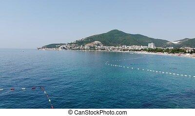view of coastline of Budva city, Montenegro. Balkans,...