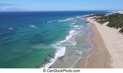 High angle view of coastline seen from drone