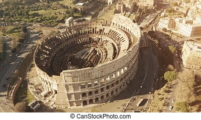 Aerial view of Coliseum or Colosseum, famous ancient...
