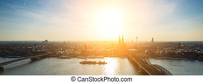 Aerial view of cologne city at dusk