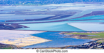 Aerial view of colorful ponds used for salt production in south San Francisco bay area; California
