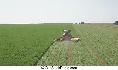 Aerial view of combine harvester. Harvest of field....