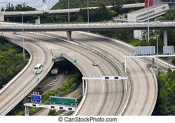 Aerial view of complex highway interchange in Hong Kong