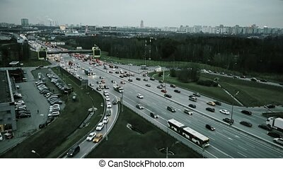 Aerial view of congested road traffic at big highway...