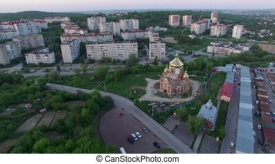 Aerial view of constructed church in Lviv, Ukraine.