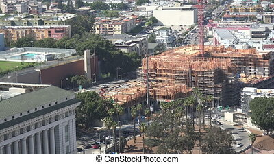 Aerial view of construction in downtown Los Angeles