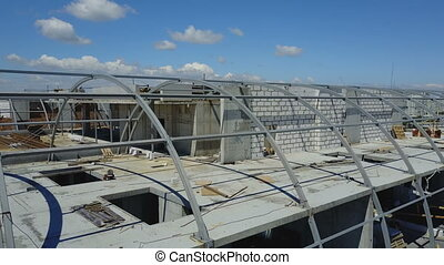 Aerial View Of Construction Site And Group Of Builders...