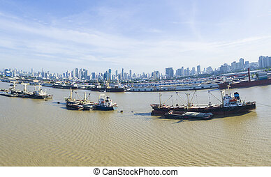 aerial view of container boat in chao praya river bangkok thailand
