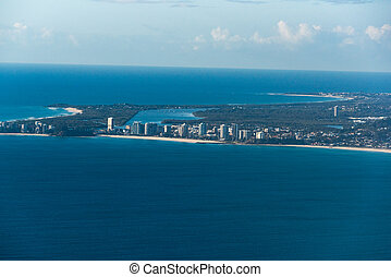 Aerial view of Coolangatta and Geenmount beach. Gold Coast,...