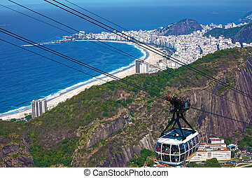 copacabana - aerial view of copacabana with the from the...