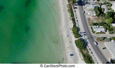 Aerial view of Coquina Beach and pier, Anna Maria Island