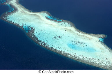 Aerial view of coral reefs.