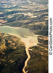 Aerial view of Corbara Lake (Italy)