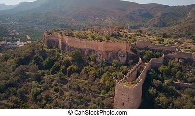 Aerial view of Corbera Castle ruins, Spain - Aerial view of...