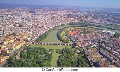 Aerial view of Cordoba cityscape and the Guadalquivir river,...