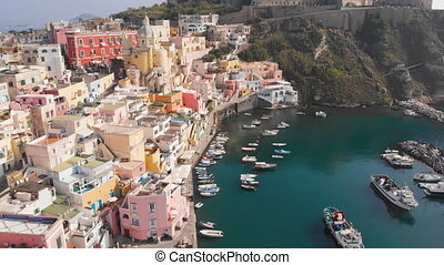 Aerial view of traditional Corriccella fisherman village in Procida, island near Naples, Italy