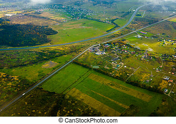 Aerial view of country side