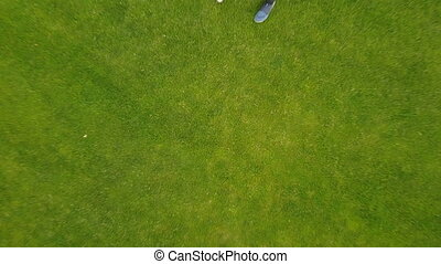 Aerial View Of Couple Walking Outdoors, Drone Shooting...