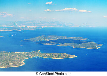 aerial view of croatia, island and adriatic sea above