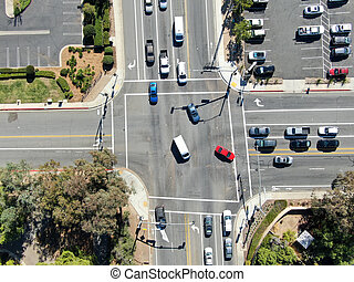 Aerial view of crossing road in Poway, San Diego County, USA