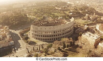 Aerial view of crowded famous Colosseum or Coliseum...
