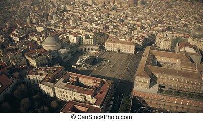 Aerial view of crowded Piazza del Plebiscito square in...