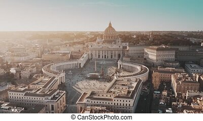 Aerial view of crowded St. Peter's Square in Vatican City
