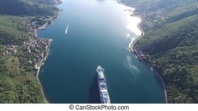 Aerial view of cruise ship in the Bay of Kotor