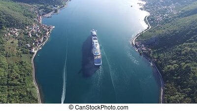 Aerial view of cruise ship in the Bay of Kotor, Montenegro