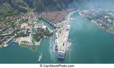 aerial view of cruise ship