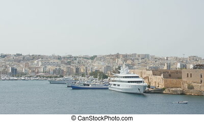 Aerial view of cruise ships in the Port of Valletta.