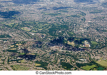 Aerial view of Crystal Palace, Dulwich and Peckham, South London