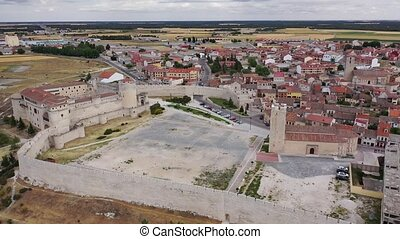 Aerial view of Segovia Province, with Cuellar Castle and buildings, Leon, Spain