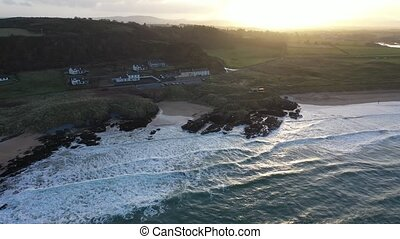 Aerial view of Culdaff Beach in Donegal Ireland.